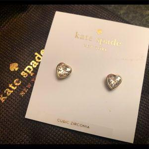 NWT - Kate Spade gold heart earrings